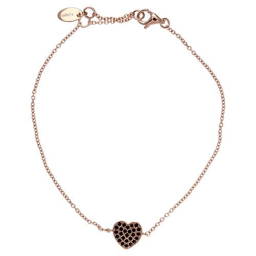 Bracelet argent 925 rosé pendentif coeur avec zircons noirs 1