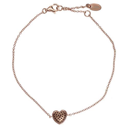 Bracelet argent 925 rosé pendentif coeur avec zircons noirs 2