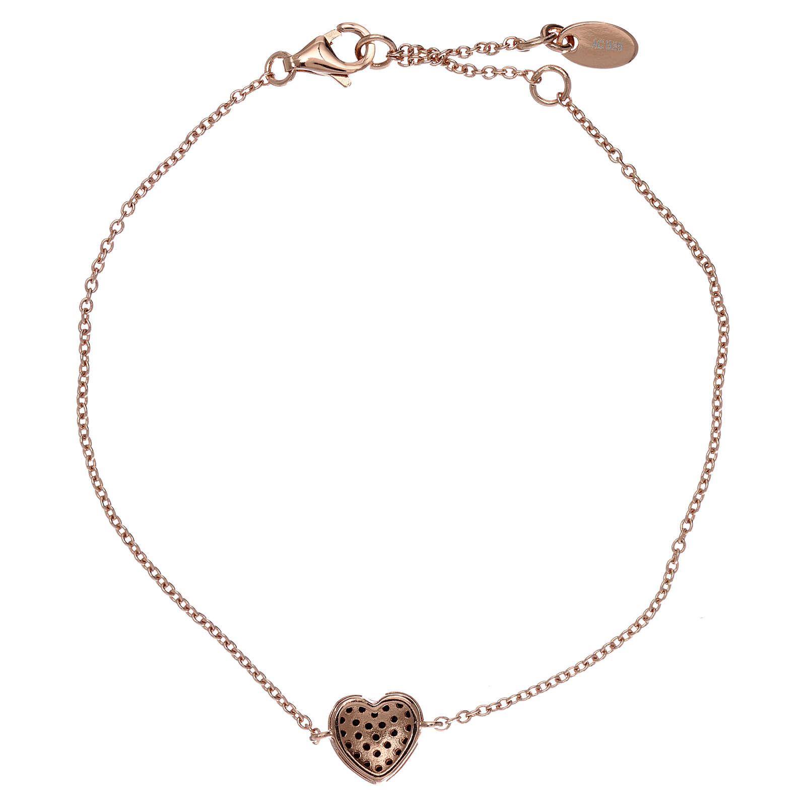 Bracciale argento 925 rosé ciondolo cuore con zirconi neri 4
