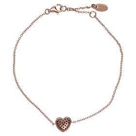Bracciale argento 925 rosé ciondolo cuore con zirconi neri s2