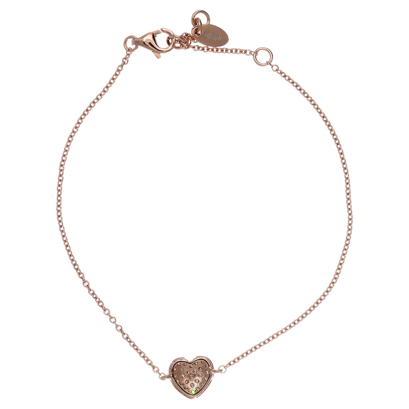 Bracciale AMEN argento 925 rosé charm cuore con zirconi bianchi 4