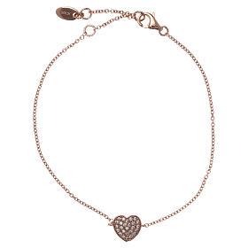 Bracciale AMEN argento 925 rosé charm cuore con zirconi bianchi s1