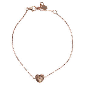 Bracciale AMEN argento 925 rosé charm cuore con zirconi bianchi s2
