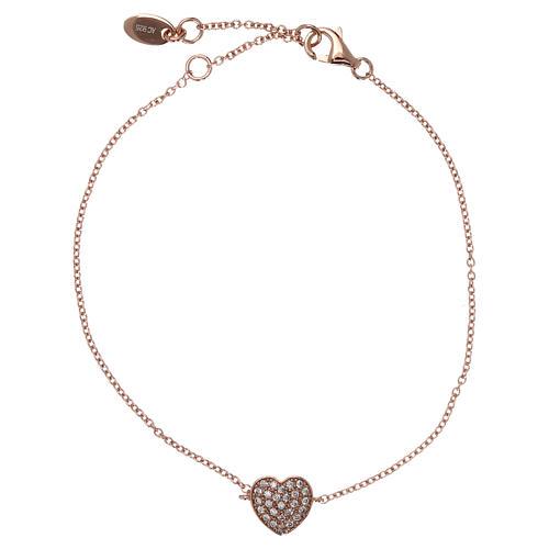 Bracciale AMEN argento 925 rosé charm cuore con zirconi bianchi 1