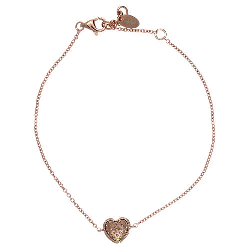 Bracciale AMEN argento 925 rosé charm cuore con zirconi bianchi 2