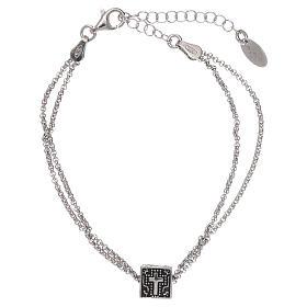 Bracciale cubo croce, cuore e ancora AMEN argento 925 s1