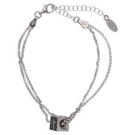 Bracciale cubo croce, cuore e ancora AMEN argento 925 s2