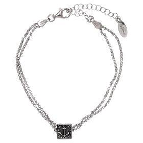 Bracciale cubo croce, cuore e ancora AMEN argento 925 s5