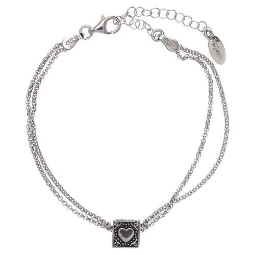 Bracciale cubo croce, cuore e ancora AMEN argento 925 3