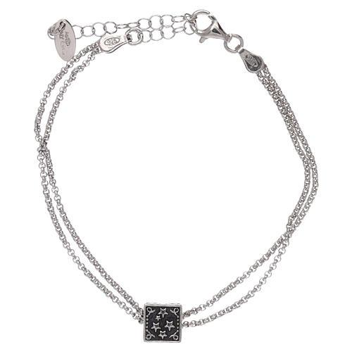 Bracciale cubo croce, cuore e ancora AMEN argento 925 4