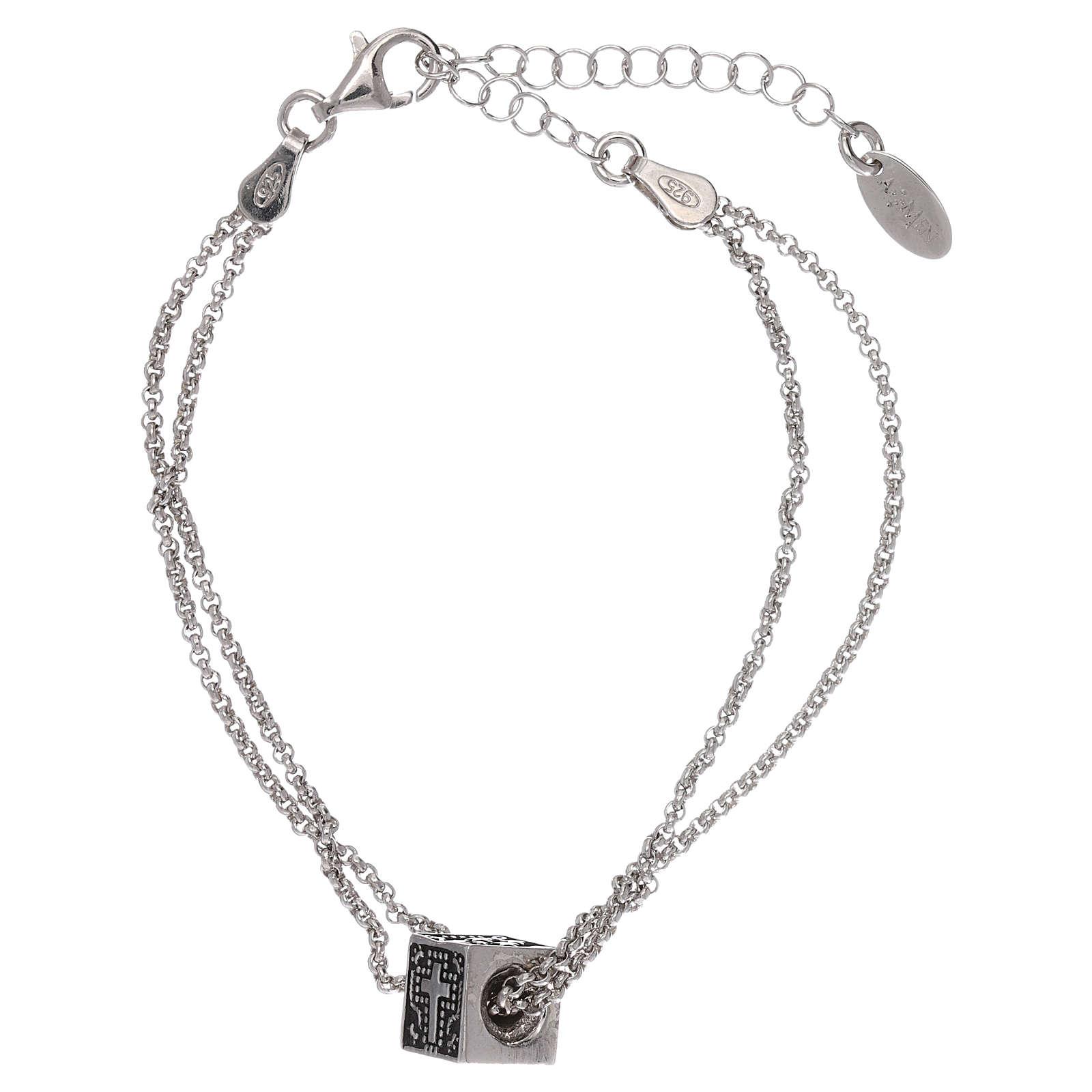Pulseira cubo cruz coração âncora AMEN prata 925 4
