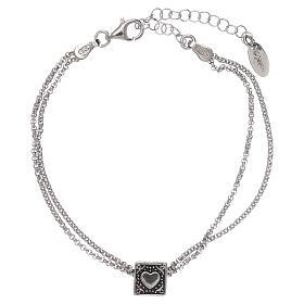 Pulseira cubo cruz coração âncora AMEN prata 925 s3