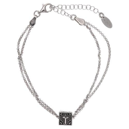 Pulseira cubo cruz coração âncora AMEN prata 925 1
