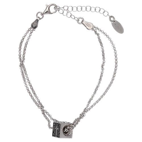 Pulseira cubo cruz coração âncora AMEN prata 925 2