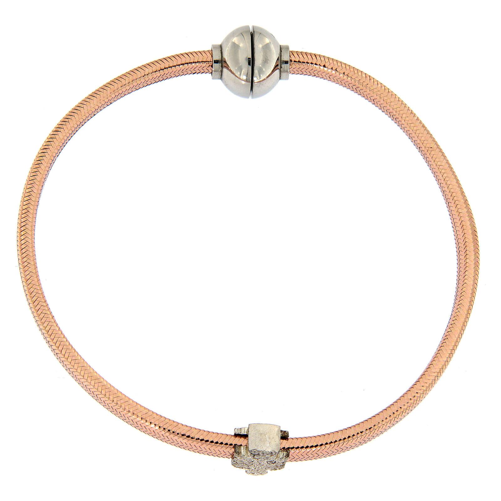 Bracelet AMEN ange zircons argent 925 lurex rosé 4
