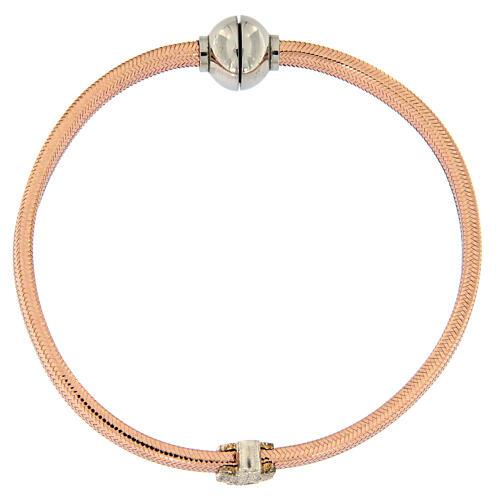 Bracelet AMEN ange zircons argent 925 lurex rosé 1