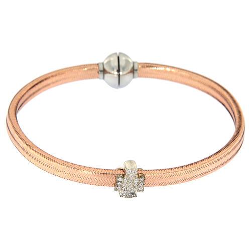 Bracelet AMEN ange zircons argent 925 lurex rosé 2