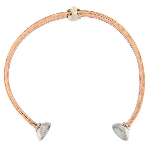 Bracelet AMEN ange zircons argent 925 lurex rosé 3