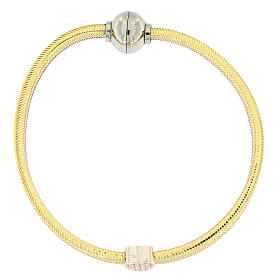 Pulsera AMEN lurex oro colgante plata 925 zircones s1