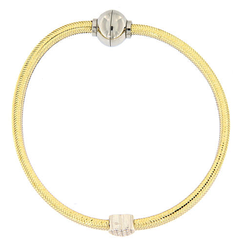 Pulsera AMEN lurex oro colgante plata 925 zircones 1