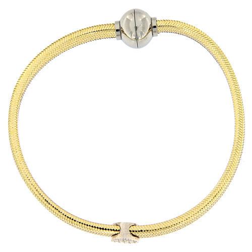 Pulsera AMEN lurex oro colgante plata 925 zircones 4