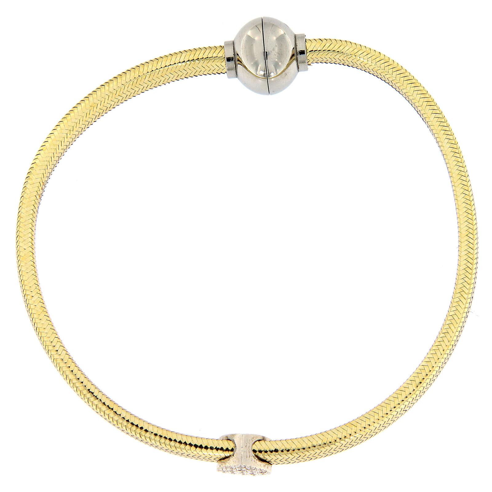 Bracelet AMEN lurex doré charm argent 925 zircons 4