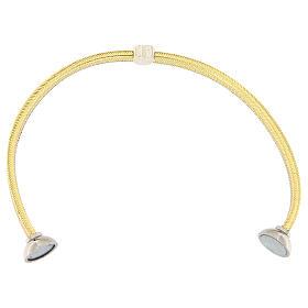 Bracelet AMEN lurex doré charm argent 925 zircons s3