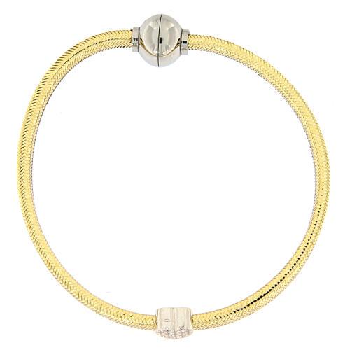 Bracelet AMEN lurex doré charm argent 925 zircons 1