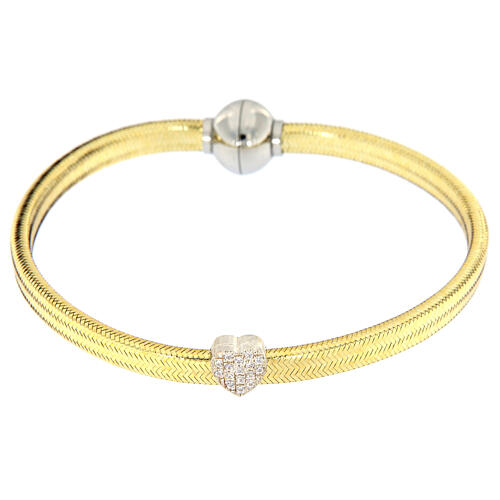 Bracelet AMEN lurex doré charm argent 925 zircons 2