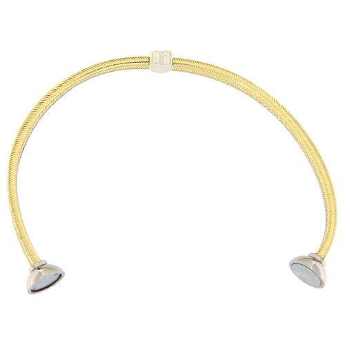 Bracelet AMEN lurex doré charm argent 925 zircons 3