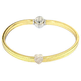 Bracciale AMEN lurex oro charm argento 925 zirconi s2