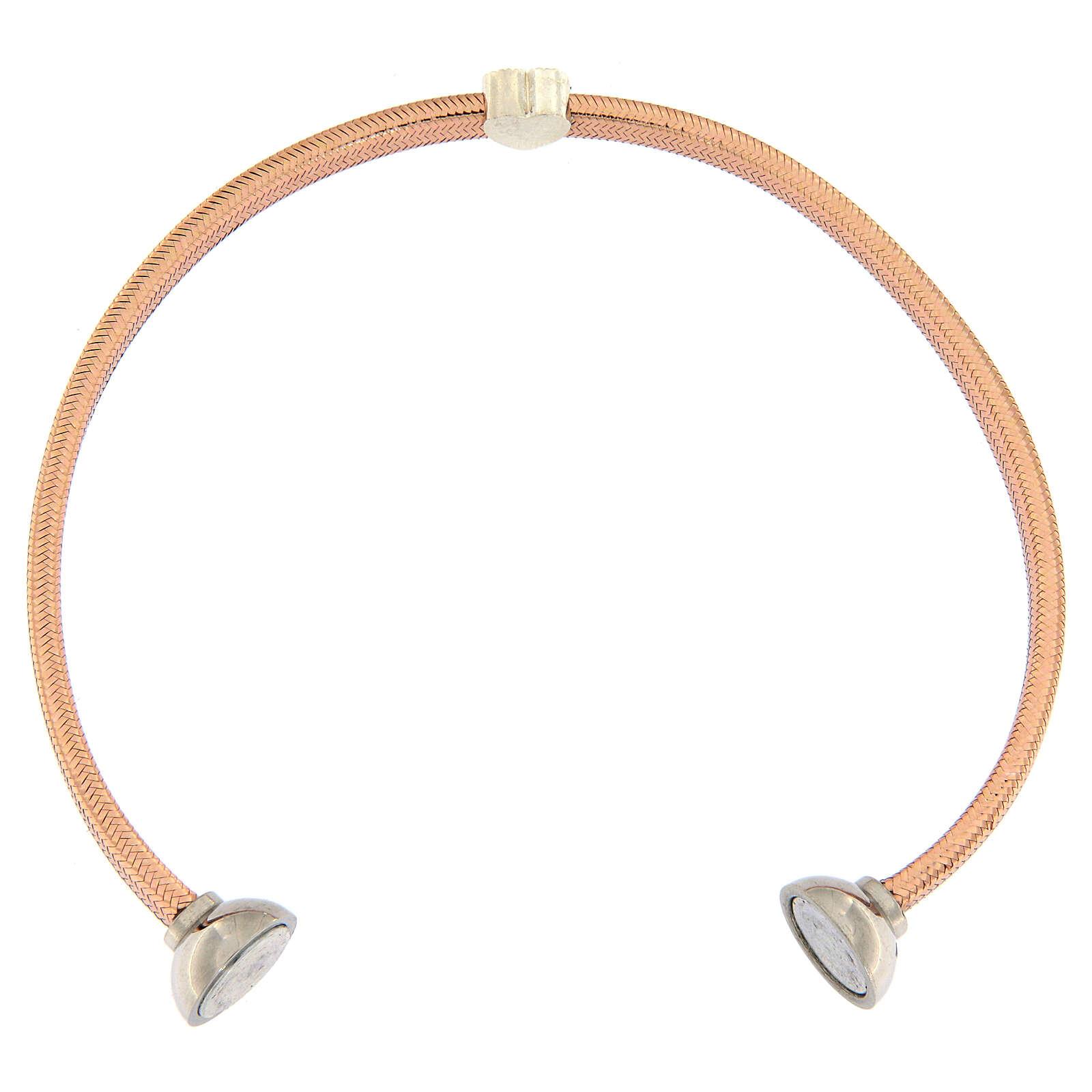 Bracelet AMEN lurex rose coeur argent zircons 4