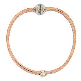 Bracelet AMEN lurex rose coeur argent zircons s4