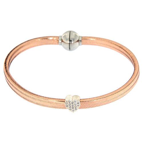 Bracelet AMEN lurex rose coeur argent zircons 2