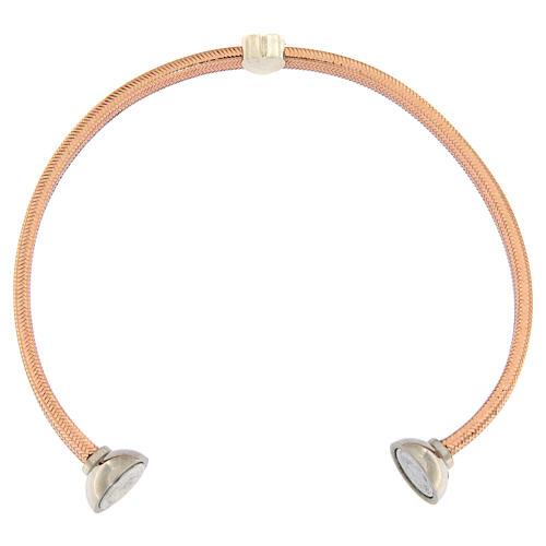 Bracelet AMEN lurex rose coeur argent zircons 3