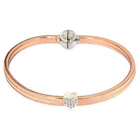 Bracciale AMEN lurex rosa cuore argento zirconi s2