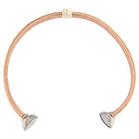 Bracciale AMEN lurex rosa cuore argento zirconi s3