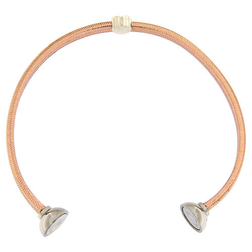 AMEN Bracelet rosé lurex silver heart and zircons 3