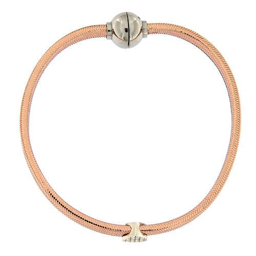 AMEN Bracelet rosé lurex silver heart and zircons 4