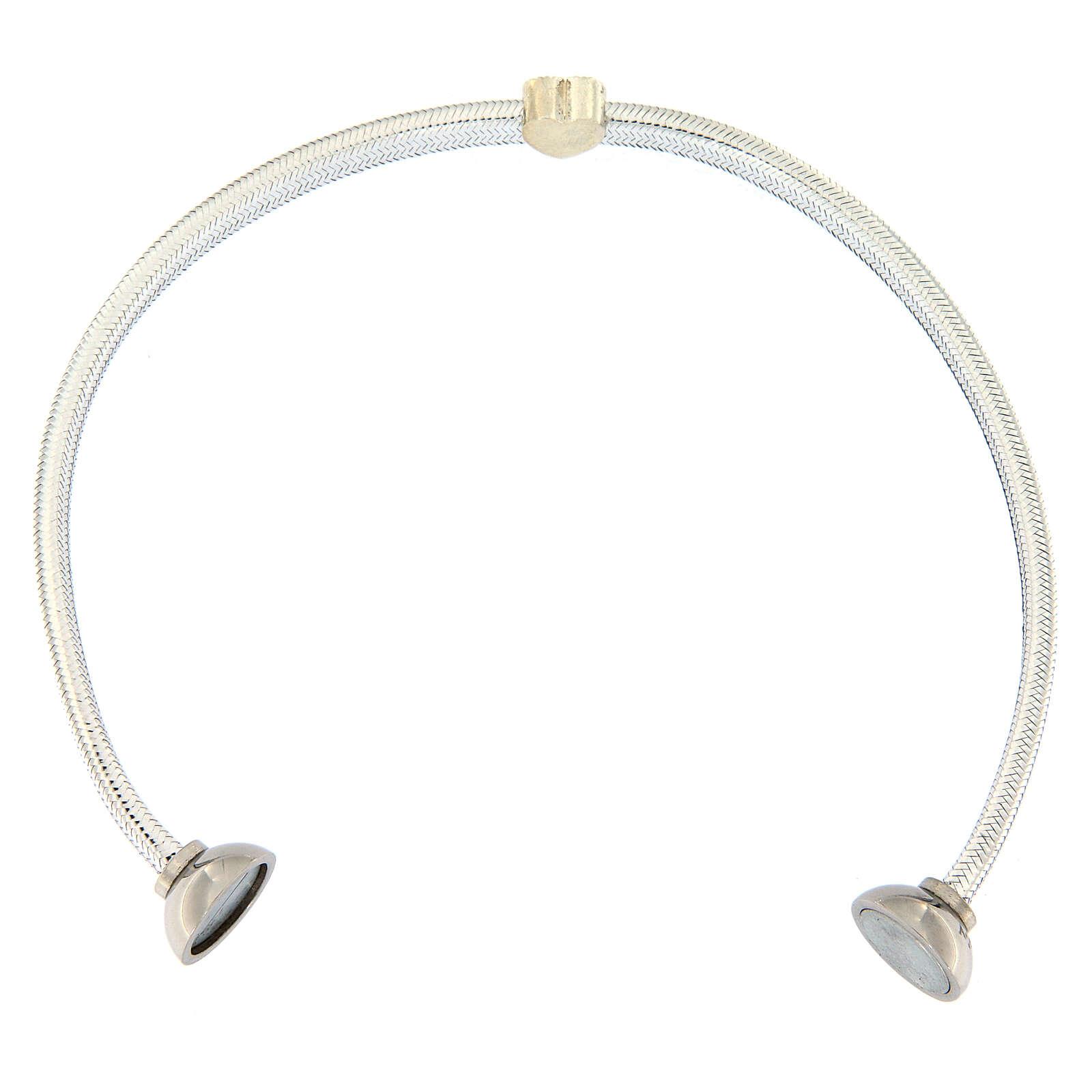 Pulsera plata 925 lurex plateado AMEN corazón 4
