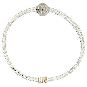 Braccialetto argento 925 lurex argentato AMEN cuore s1