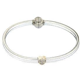 Braccialetto argento 925 lurex argentato AMEN cuore s2