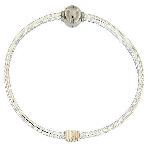 Braccialetto argento 925 lurex argentato AMEN cuore 1