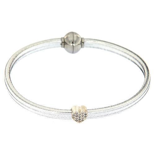 Braccialetto argento 925 lurex argentato AMEN cuore 2
