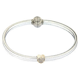 AMEN Bracelet silver-plated lurex heart and zircons s2