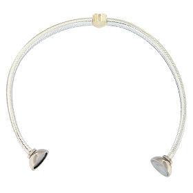AMEN Bracelet silver-plated lurex heart and zircons s3