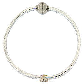 AMEN Bracelet silver-plated lurex heart and zircons s4