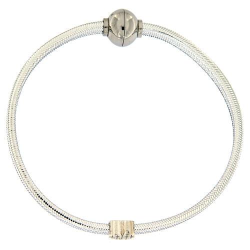 AMEN Bracelet silver-plated lurex heart and zircons 1