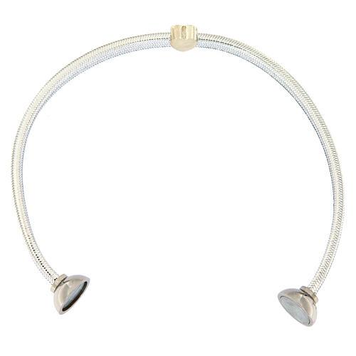 AMEN Bracelet silver-plated lurex heart and zircons 3