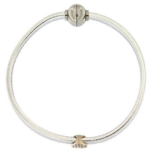 AMEN Bracelet silver-plated lurex heart and zircons 4